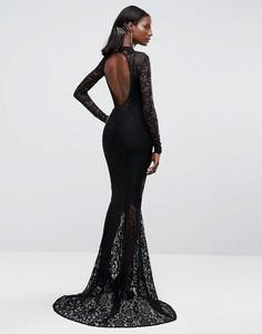 Кружевное платье макси с юбкой годе Club L - Черный