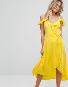 Платье миди с запахом и оборками New Look - Желтый