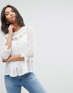 Блузка с вышивкой и кружевной отделкой ASOS - Мульти