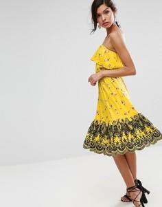 Платье-бандо миди с цветочным принтом и вышивкой по краю ASOS - Мульти