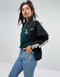 Куртка с молнией и декоративной отделкой adidas Originals - Черный