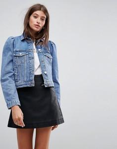 Выбеленная синяя джинсовая куртка с рукавами-фонариками ASOS - Синий