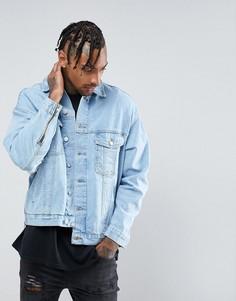 Джинсовая куртка с рваной отделкой на рукавах Mennace - Синий