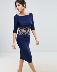 Платье-футляр миди с вышивкой Little Mistress - Темно-синий