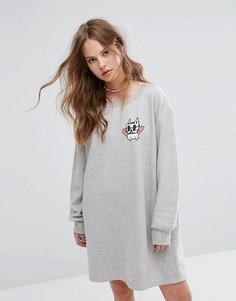 Свободное платье-свитшот New Love Club - Серый