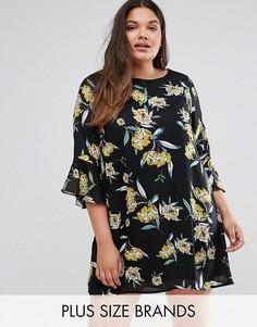 Платье А-силуэта с оборками на рукавах Yumi Plus - Черный