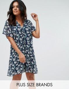 Чайное платье с цветочным принтом Yumi Plus - Черный