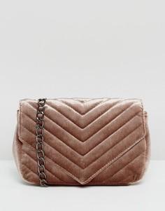 Бархатная сумка через плечо с ремешком-цепочкой Glamorous - Серый