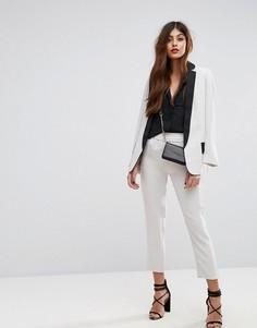 Приталенные брюки с эластичным поясом Sisley - Кремовый