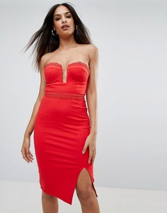Облегающее платье миди с глубоким вырезом Rare - Красный