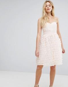 Приталенное платье со свободной юбкой, сетчатой вставкой и декоративной отделкой ASOS - Розовый Little Mistress
