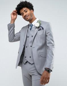 Серый облегающий пиджак из 100% шерсти ASOS - Серый