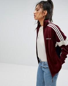 Велюровая спортивная куртка бордового цвета adidas Originals - Красный