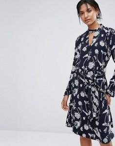 Платье с запахом и принтом Just Female Hamie - Темно-синий