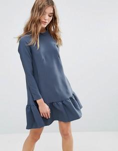 Платье с длинными рукавами и оборкой Closet - Зеленый