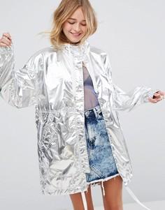 Куртка цвета металлик Monki - Серебряный