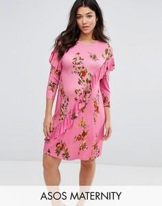 Платье-футболка мини с оборками и цветочным принтом ASOS Maternity - Мульти