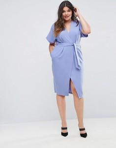 Платье с короткими рукавами и поясом Closet London Plus - Синий