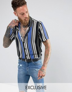 Шифоновая рубашка классического кроя в полоску Reclaimed Vintage Inspired - Синий