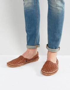Светло-коричневые плетеные туфли из нубука Dune Freedom - Рыжий