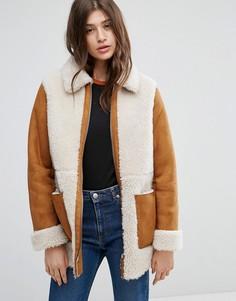 Пальто из искусственной овчины ASOS - Рыжий