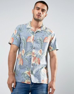Синяя рубашка классического кроя с короткими рукавами и цветочным принтом Tommy Hilfiger Denim - Синий