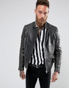 Кожаная байкерская куртка со стегаными рукавами Black Dust - Черный
