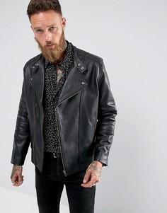 Черная кожаная байкерская куртка Black Dust Bubbla - Черный