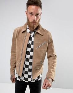 Замшевая байкерская куртка Black Dust - Светло-серый