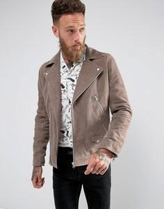 Серо-коричневая замшевая байкерская куртка Black Dust - Светло-серый