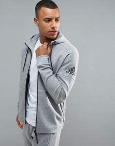 Худи серого цвета на молнии adidas Athletics Stadium BQ1648 - Серый