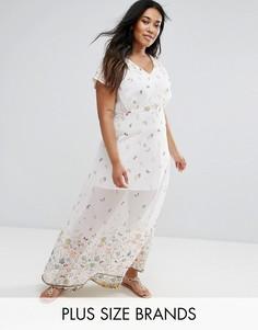 Платье макси с принтом Yumi Plus - Белый