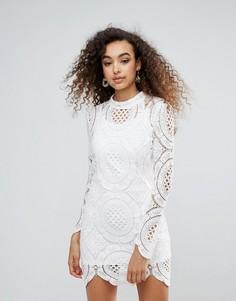 Облегающее кружевное платье с высоким воротом Unique 21 - Кремовый