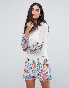 Цельнокройное платье с тропическим принтом Yumi - Белый