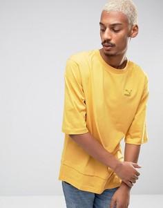 Желтая oversize-футболка с двухслойной кромкой Puma эксклюзивно для ASOS - Желтый