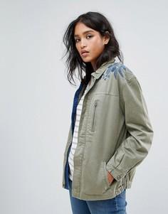 Куртка в стиле милитари с вышивкой на плече Maison Scotch - Зеленый