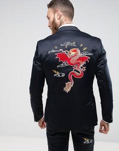 Темно-синий облегабщий атласный пиджак с вышивкой ASOS - Темно-синий