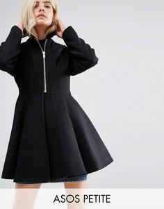Свободное пальто с пышной юбкой и поясом ASOS PETITE - Черный