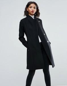 Облегающее пальто строгого кроя с воротником-стойкой ASOS - Черный