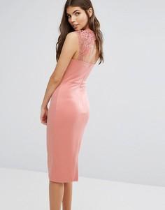 Платье миди с ажурными вставками Club L - Розовый