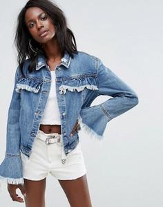 Джинсовая куртка с оборками Missguided - Синий
