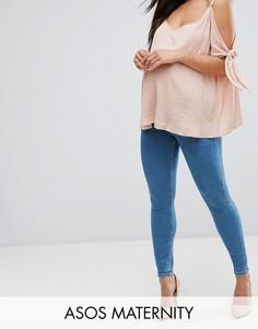 Выбеленные джинсы скинни с завышенной талией ASOS MATERNITY RIDLEY - Синий