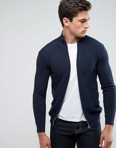 Фактурная трикотажная куртка на молнии Solid - Темно-синий