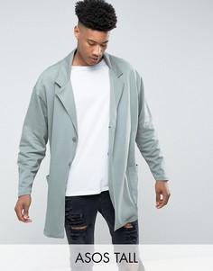Зеленое свободное супердлинное пальто из трикотажа ASOS TALL - Зеленый