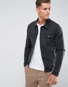 Черная узкая джинсовая куртка ASOS - Черный