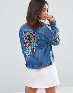 Джинсовая куртка с вышивкой Glamorous - Синий