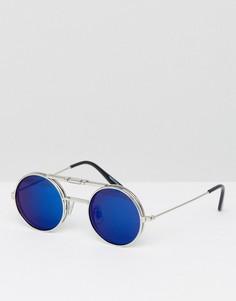 Солнцезащитные очки с синими зеркальными стеклами в круглой подъемной оправе Spitfire Lennon - Золотой