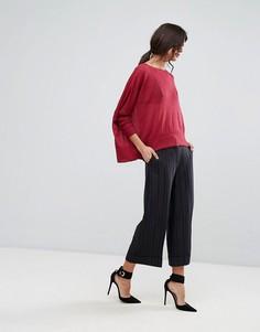 Укороченные широкие брюки Sisley - Черный