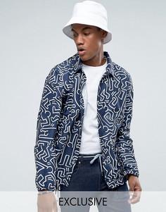 Темно-синяя складывающаяся спортивная куртка с принтом Herschel Voyage эксклюзивно для Великобритании - Темно-синий