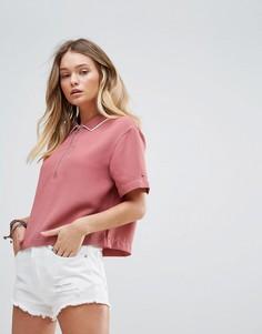 Укороченная футболка-поло с молнией Tommy Hilfiger Denim - Розовый